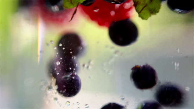 Mixed berries falling down in water video