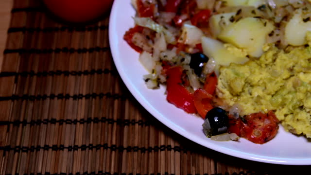 Mixed cauliflower with potatoes and grilled vegetables. Mediterranean food. Flat design. video