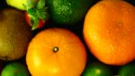 Mixed Fruits. Close up. Top view. video