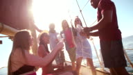 Mixed group of friends on yacht drinking champagne with sunflare video