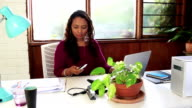 Mixed race business woman in creative office video