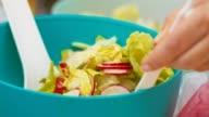 Mixing vegetables salad video
