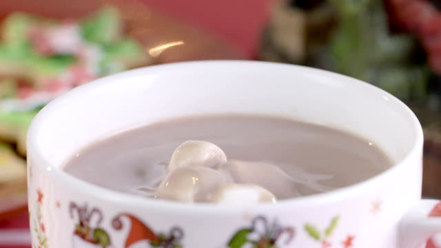 MMarshmallows falling on hot chocolate mug in slow motion video