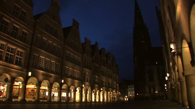 Münster in the night - Prinzipalmarkt, Germany video