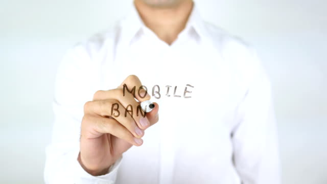 Mobile Banking, Man Writing on Glass video
