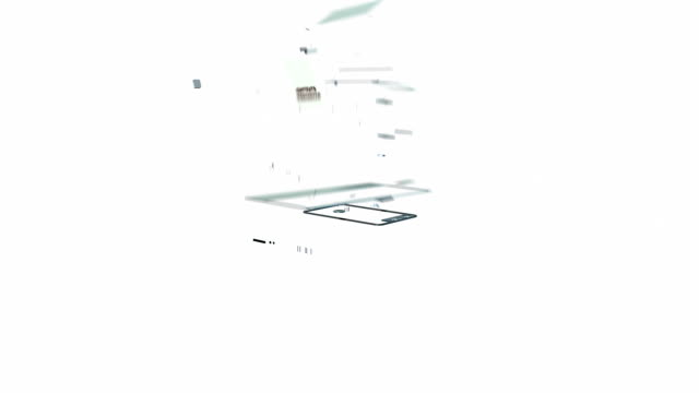 Mobile dissolve into Laptop against white video