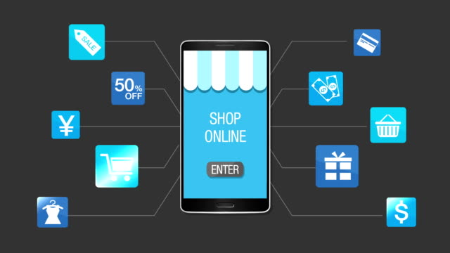 Mobile shopping and payment concept, using smart phone. video