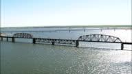 Mobridge Railway Bridge  - Aerial View - South Dakota, Walworth County, United States video
