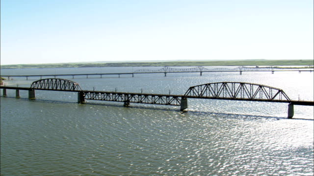 Mobridge Railway Bridge  - Aerial View - South Dakota, Walworth County, United States video