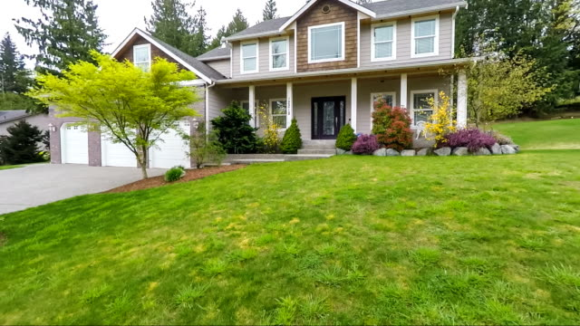 Modern American Suburban Home Exterior Dolly Approach video