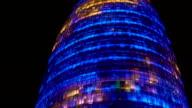 Modern architecture, amazing illuminative LED show happening on skyscraper video