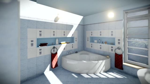 Modern bathroom interior, dolly camera video