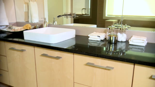 Modern bathroom sink and counter video