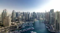 Modern buildings in Dubai Marina with shadows moving very fast timelapse, Dubai, UAE. video