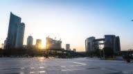 modern buildings in hangzhou new city at sunset. timelapse 4k hyperlapse video