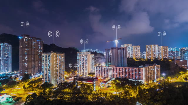 modern buildings in smart city at twilight. timelapse video