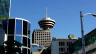 Modern business building and Vancouver lookout tower in downtown Vancouver BC Canada. video