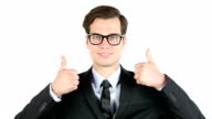 Modern businessman  thumbs up , profit, income, earnings, gain, video