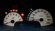 Modern car illuminated dashboard closeup video