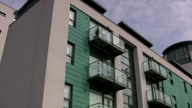 Modern city centre apartment block in Liverpool video