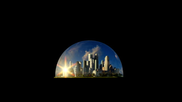 Modern city in a glass dome on ocean at sunset video