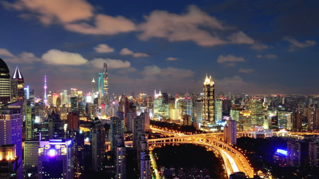 Modern City Panoramic in Shanghai, Day To night time lapse video