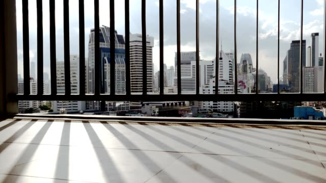 Modern City skyscraper view from the balcony of a luxury apartment Stock video video