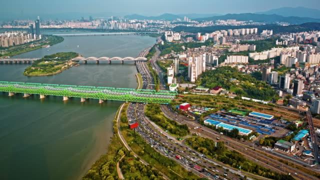 Modern city traffic aerial view video