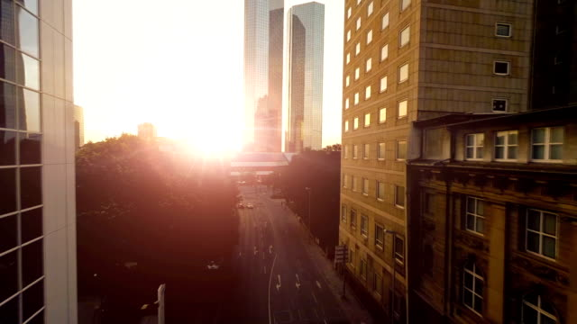 modern city urban landmark. business buildings. sunset sky video