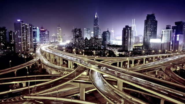 modern city with highway interchange - video