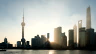modern cityscape and skyline of Shanghai during sunrise,timelapse.. video