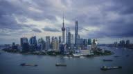 modern cityscape and skyline of Shanghai during sunset,timelapse video