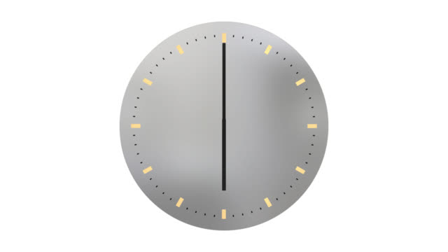 Modern clock face with hands moving through 24 hours backwards video