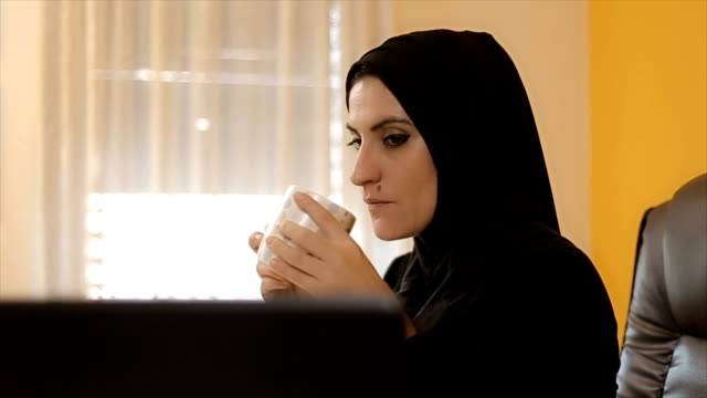 Modern corporate businesswoman in Middle East video