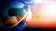 Modern Earth Spin Background Loop - Night Glow Blue Orange video