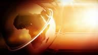 Modern Earth Spin Background Loop - Red Orange Glow HD video
