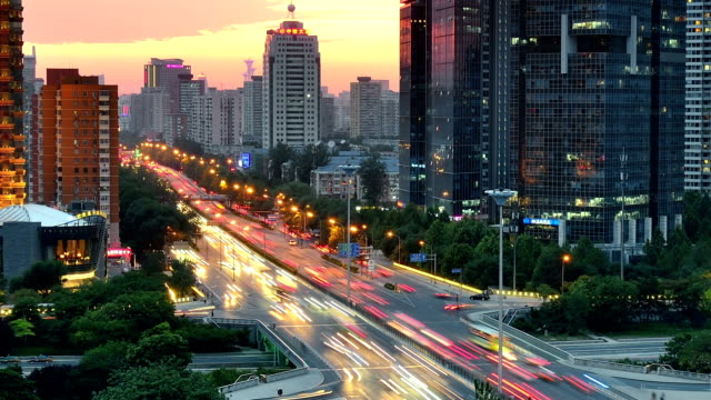 Modern Elevated Traffic in Beijing, Day To Night Time Lapse video