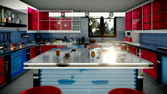 Modern equipped kitchen, zoom in video