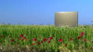 Modern flat screen TV in the green field video