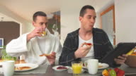 HD DOLLY: Modern Gay Couple Eating Breakfast video