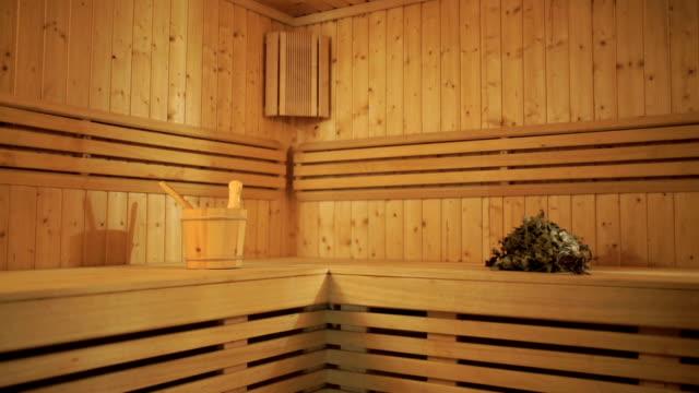 Modern interior of a wooden sauna video
