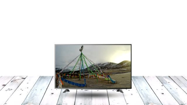 Modern LCD monitor display on wood table with nature display video