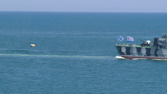 modern missile boat in the open sea video