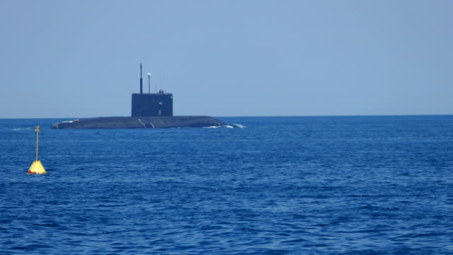 Modern missile submarine goes to sea video