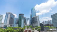 modern office buildings and skyline of suzhou new city in cloud sky. timelapse 4k video