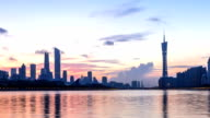modern office buildings near river in guangzhou at dawn. timelapse video
