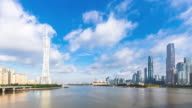 modern office buildings near river in guangzhou in blue sky. timelapse video