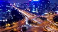 modern skyline and buildings in beijing, time lapse video
