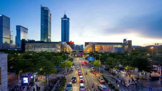 modern skyline and buildings in shenzhen, time lapse video