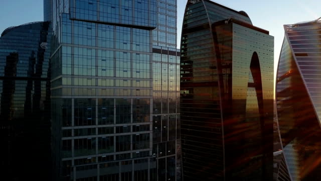Modern skyscrapers on sunrise. Moscow city. video